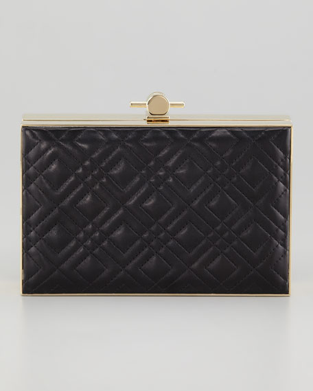 Karlie Quilted Book Box Clutch Bag, Black
