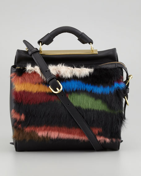 Ryder Small Fur Crossbody Satchel, Multicolor
