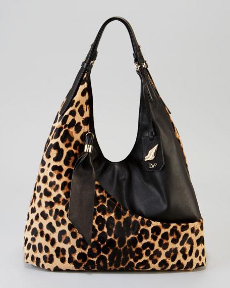 Leopard Calf Hair/Leather Wrap Bag