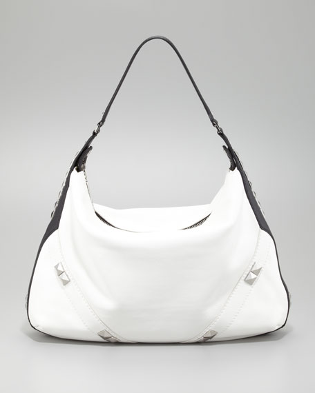 Capricorn Hobo Bag, White/Black