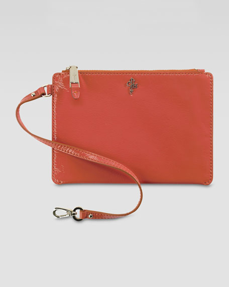 Jitney Medium Patent Pouch, Orange