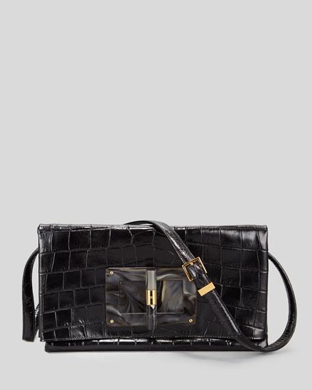 Soft Natalia Alligator Fold-Over Clutch Bag, Black