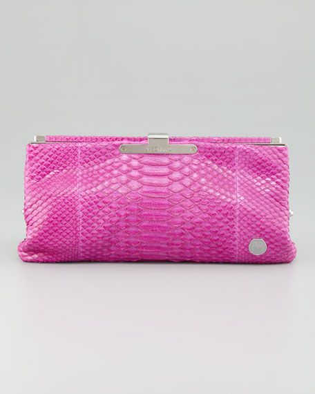 "Lauren 7"" Python Clutch, Hot Pink"