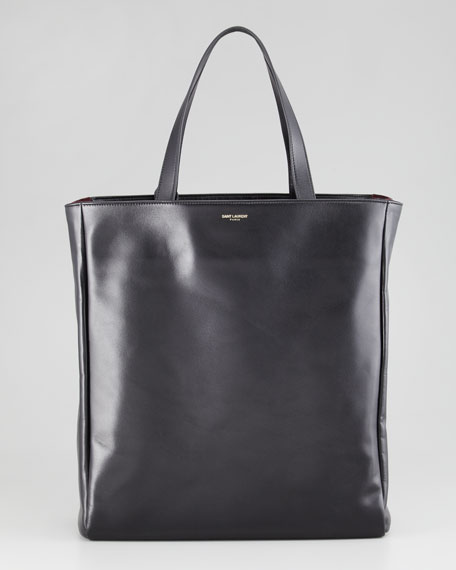 Reversible Leather/Suede North-South Tote Bag, Black/Red