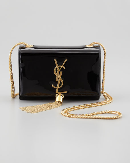Cassandre Small Patent Crossbody Bag, Black