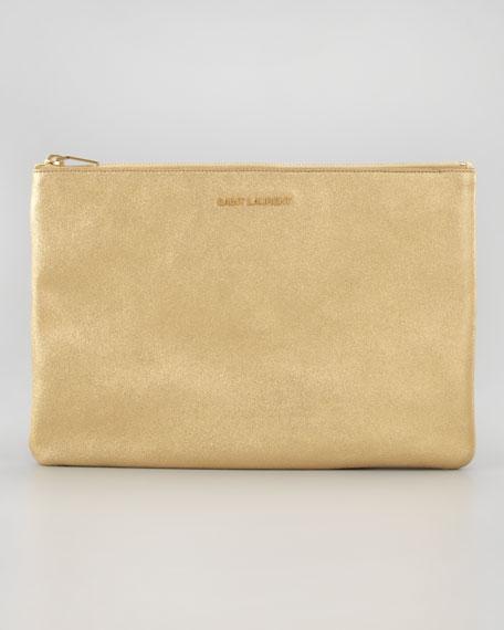Letters Medium Metallic Zip Clutch Bag, Gold