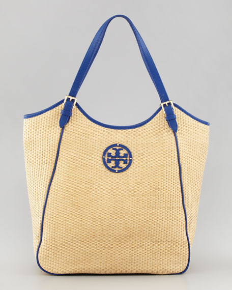Large Slouchy Straw Tote Bag, Natural/Blue
