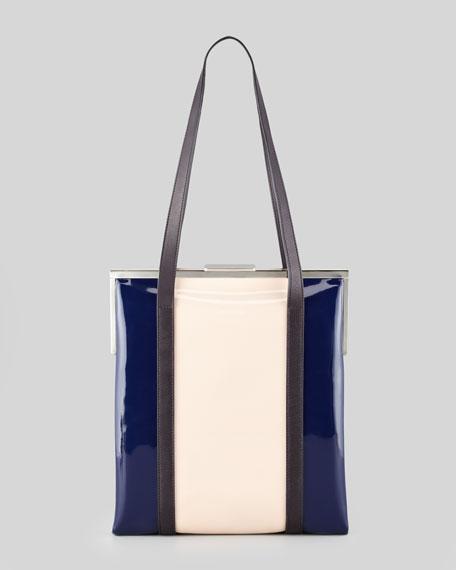 Framed Patent Leather Shoulder Bag, Blue/Pink