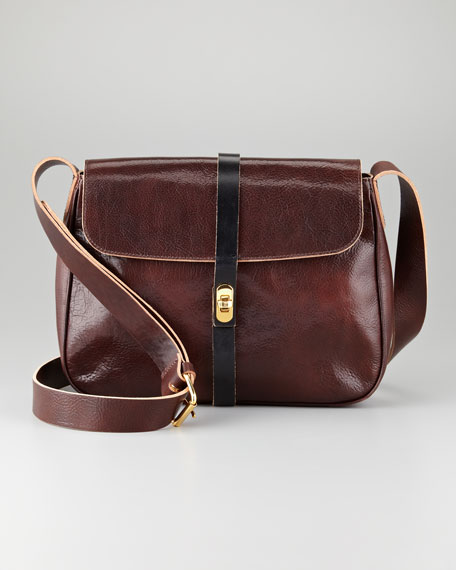 Flap-Top Leather Crossbody Bag, Brown