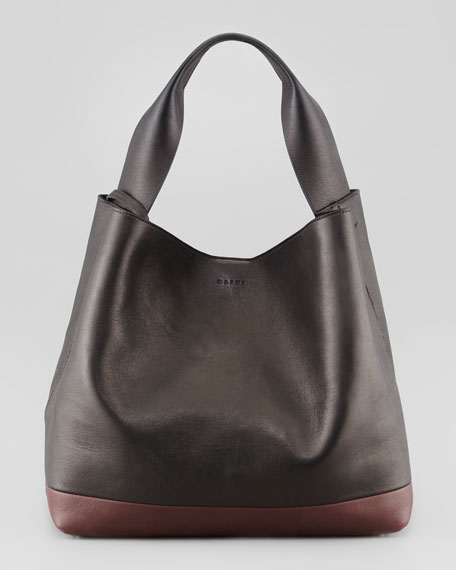 Bicolor Hobo Shoulder Bag, Black/Maroon