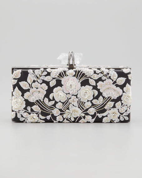 Simonetta Embroidered Rectangle Box Clutch, Black/Pink