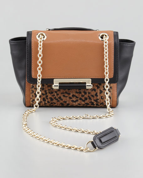 Leopard-Print Mixed-Media Mini Crossbody Bag