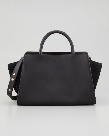 Eartha East-West Leather Satchel Bag, Black