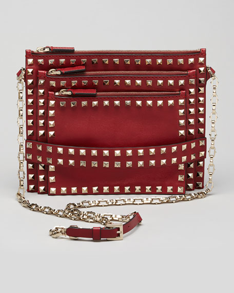 Rockstud Triple-Zip Crossbody Bag, Scarlet