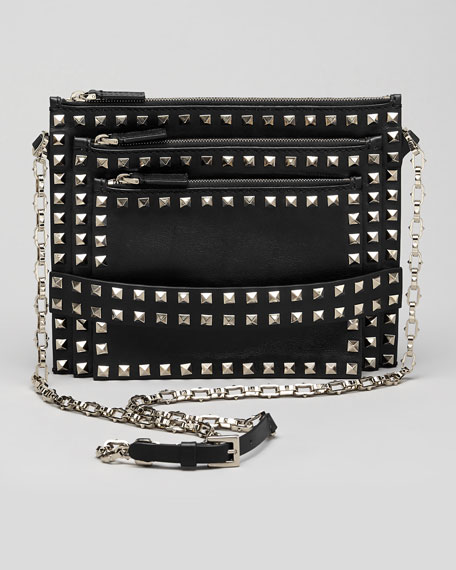 Rockstud Triple-Zip Crossbody Bag, Black