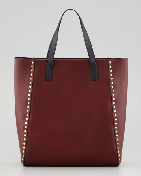 Studded Shopper Tote Bag, Ruby