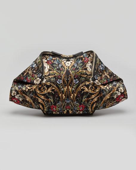 De-Manta Baroque Floral-Print Clutch Bag, Black