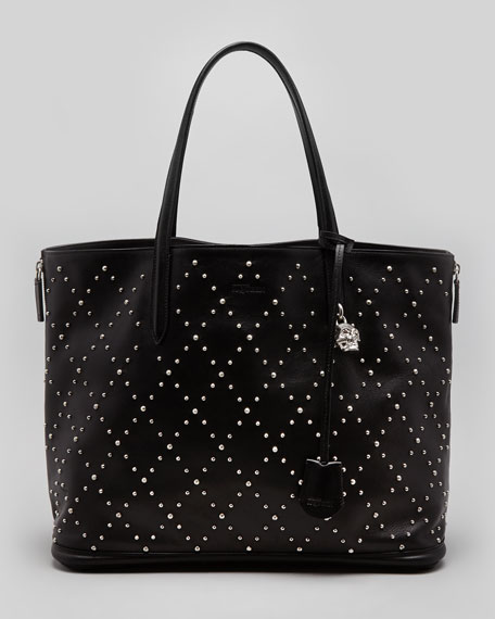 Studded Padlock Medium Shopper Tote Bag, Black