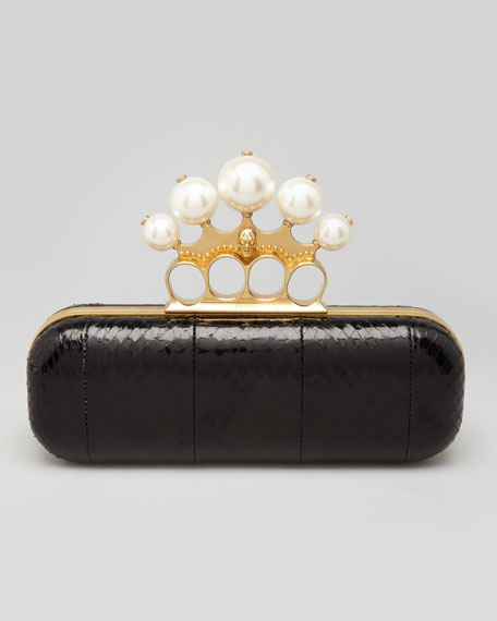 Python Pearlescent Knuckle-Duster Clutch, Black