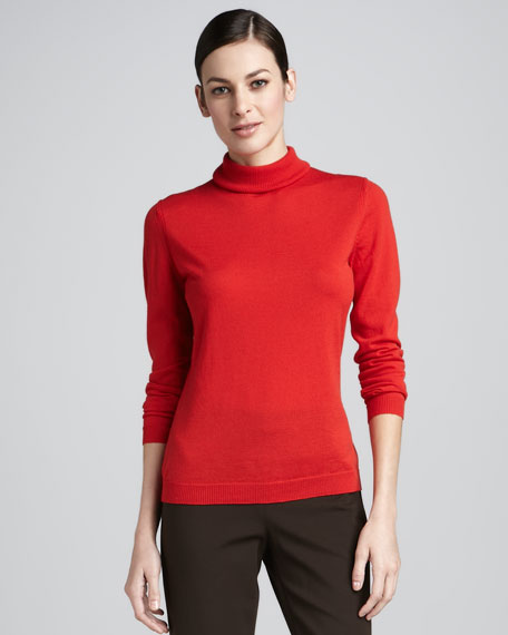 Super 120s Wool Turtleneck, Vermillion
