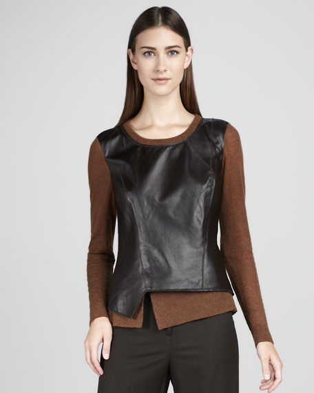 Leather-Front Asymmetric Sweater