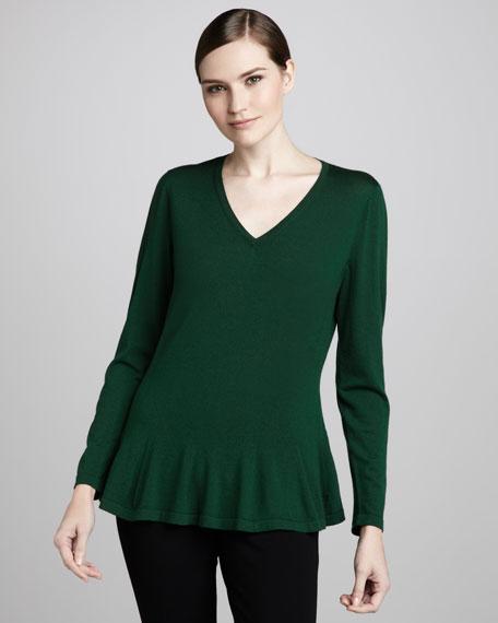 V-Neck Peplum Sweater
