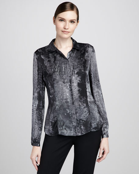 Demure Printed Silk Blouse