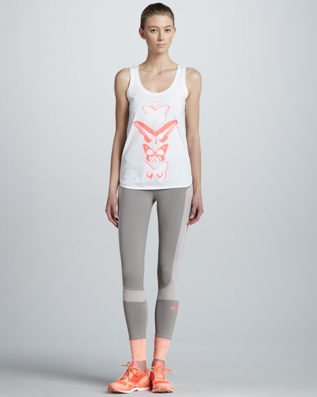 Colorblock Running Leggings, Orange/Gray
