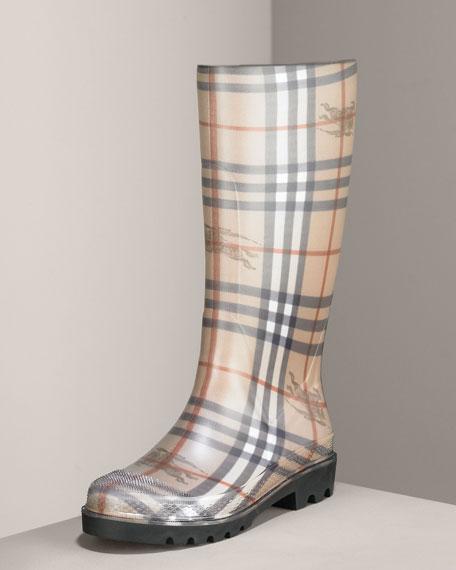 Check Rubber Rain Boot