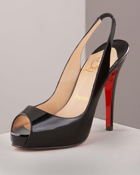 shoes replica usa - Christian Louboutin Patent Slingback Pump