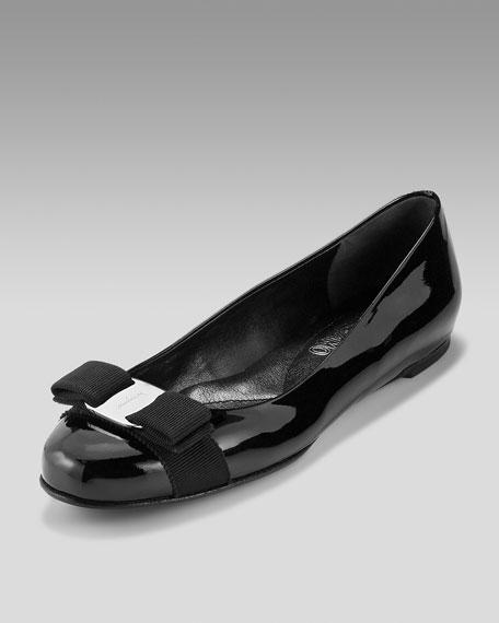 Varina Patent Bow Flat, Black