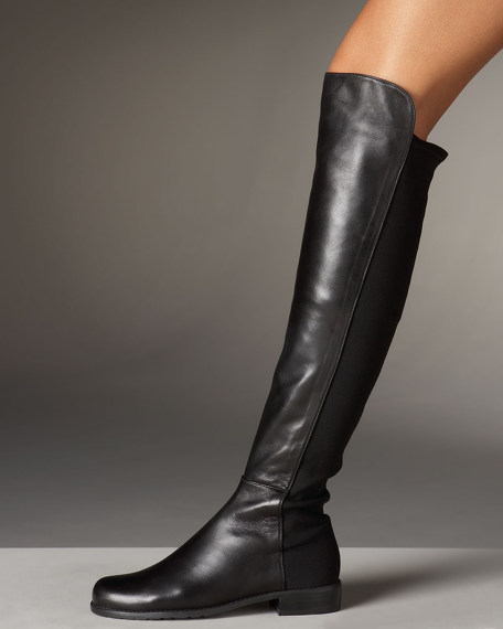 Stuart Weitzman Leather and Suede OTK Boot