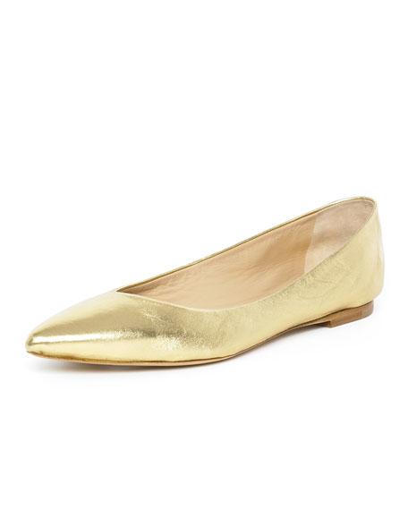 Pointed-Toe Ballerina Flat, Metallic