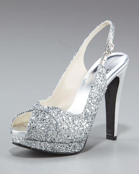 Glittered Peep-Toe Slingback
