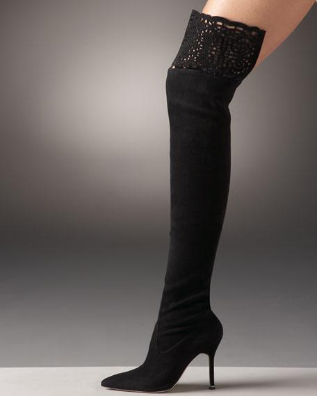 Lattice Over-The-Knee Boot