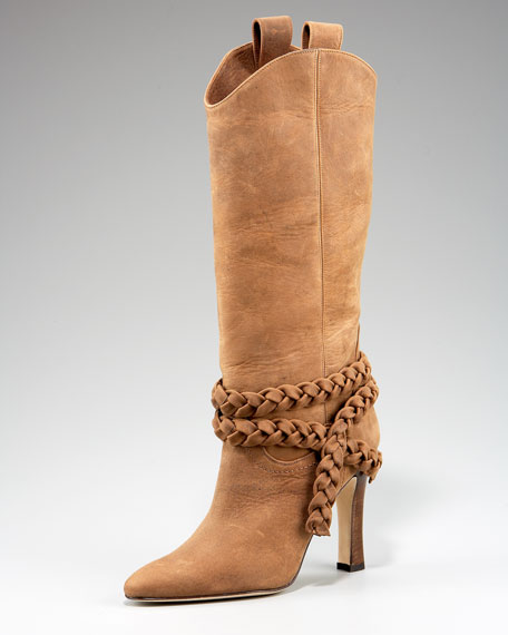 Manolo Blahnik Braided-Strap Boot