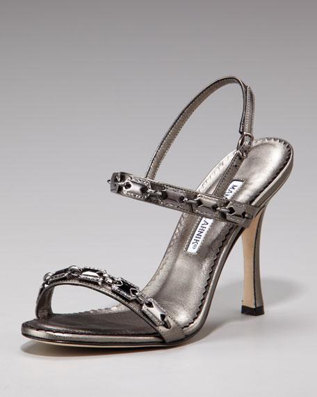 Stone-Embellished Sandals