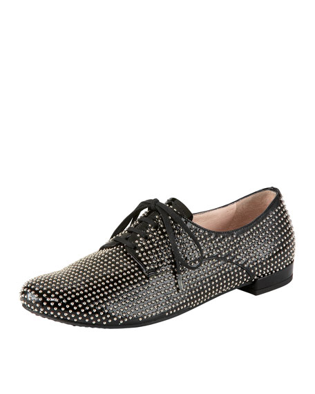 Studded Patent Lace-Up