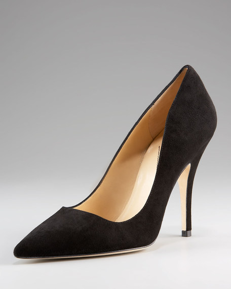 licorice point toe suede pump