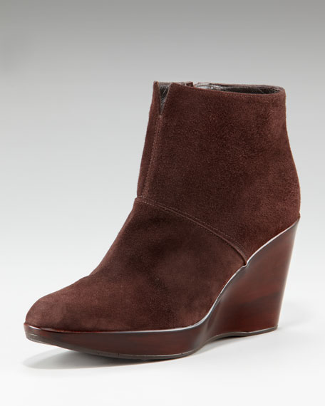 Stretch Suede Wedge Boot