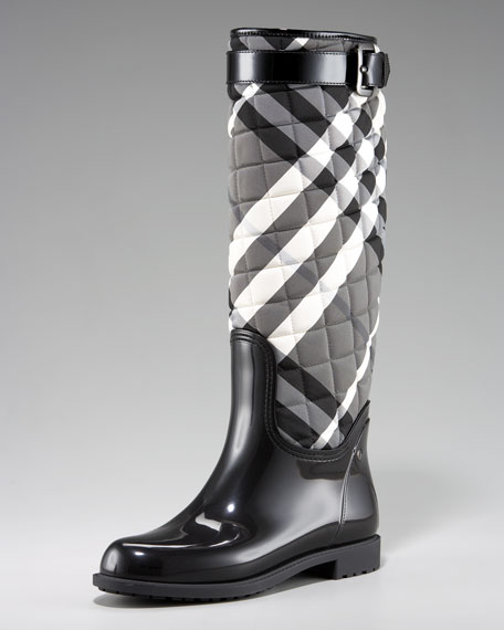 Quilted Check Rain Boot
