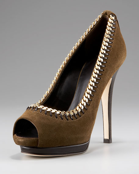 Chain-Detail Peep-Toe Pump