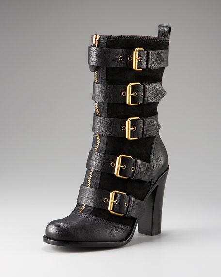 High Heel Buckle Mid-Calf Boot