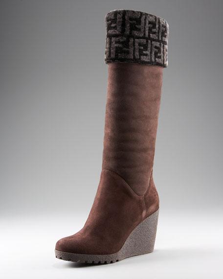 Sheepskin Foldover Wedge Knee Boot