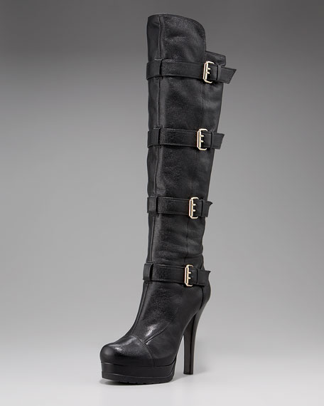 Leather Buckle Knee Boot