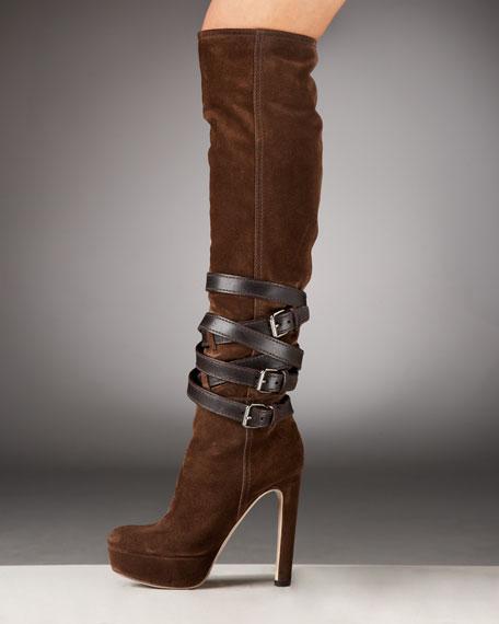 Belted Platform Knee Boot