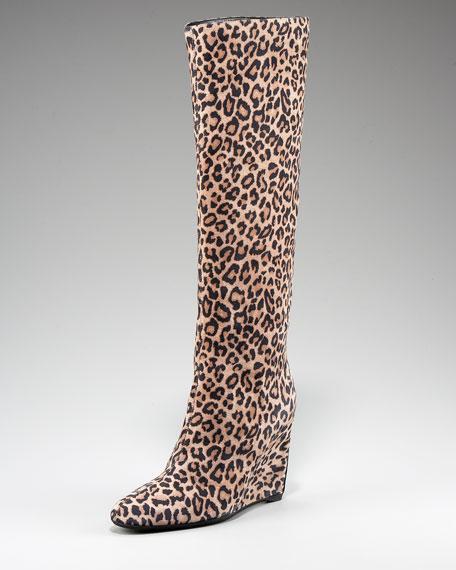 Leopard-Print Suede Boot