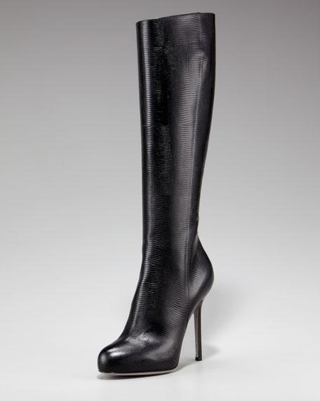 Lizard-Embossed Knee Boot
