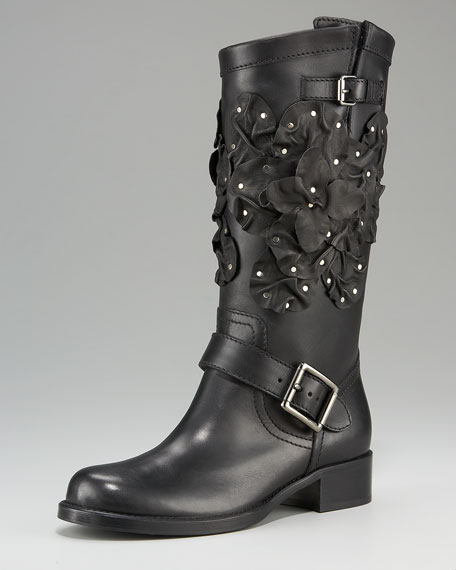 Floral-Applique Biker Boot