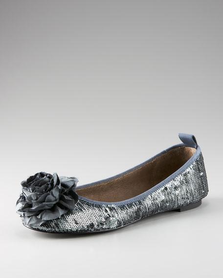 Sequin Taffeta Ballet Flat